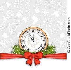 νέο έτος , φόντο , ρολόι