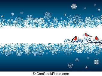 νέο έτος , χαιρετισμός αγγελία , με , bullfinches