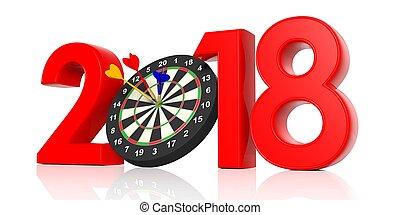 νέο έτος , 2018, - , ακόντιο , board., 3d , εικόνα