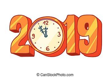νέο έτος , 2019, ρολόι