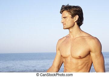 νέοs άντραs , διατυπώνω , επάνω , παραλία