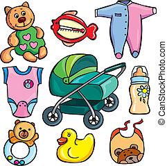 νεογέννητος , θέτω , εξαρτήματα , απεικόνιση