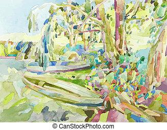 νερομπογιά , καλοκαίρι , ζωγραφική , πρωτότυπο , τοπίο