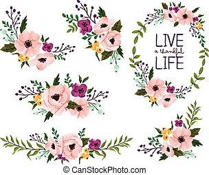 νερομπογιά , λουλούδι