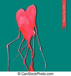 νερομπογιά , handdrawn, διάθεση , καρδιά