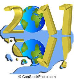 νερό , έτος , αντανάκλαση , 2011, καινούργιος