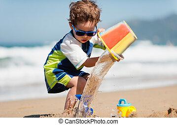 νερό , αγόρι , μικρός , κουβάς , αναβλύζω