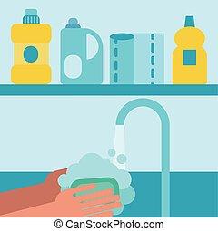 νερό , ανάμιξη , σχεδιάζω , πλύση , τρυπώ , μικροβιοφορέας , κάτω από