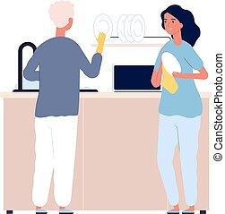 νερό , γυναίκα , καθάρισμα , εικόνα , πιάτο , washing., αντίτυπον χαρακτικής , άντραs , απορρυπαντικό , οικογένεια , μικροβιοφορέας , γεύμα. , μετά