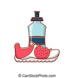 νερό , γυναικείο παπούτσι με χαμηλό τακούνι , μπουκάλι