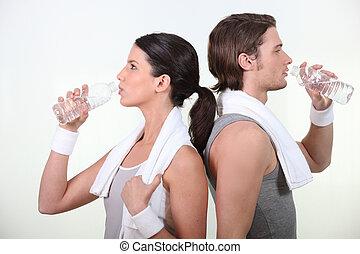 νερό , ζευγάρι , πόσιμο
