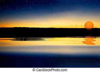 νερό , ηλιοβασίλεμα , επιφάνεια