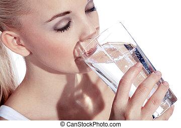 νερό , πόσιμο , γυναίκα , νέος