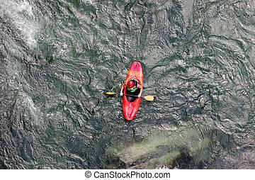 νερό , kayaking , επάνω , ο , καταρράκτης , από , ποτάμι