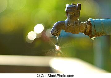 νερό , wastage, αιτία , faucet., ελαττωματικός