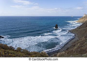 νησί , άμμοs , μαύρο , tenerife., παραλία , ισπανία