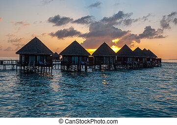 νησί , βίλλα , μαλβίδες , overwater, παράδεισος