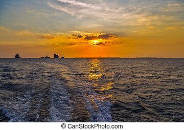 νησί , βράδυ , ηλιοβασίλεμα , θάλασσα , θαλασσογραφία