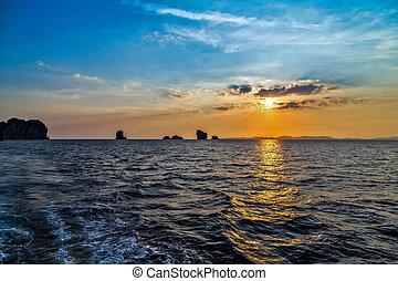 νησί , βράδυ , ηλιοβασίλεμα , παράδεισος , θαλασσογραφία