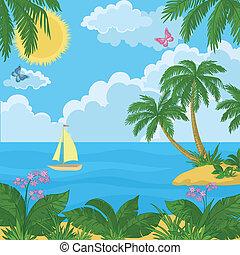 νησί , πλοίο , βάγιο , landscape:, δέντρα