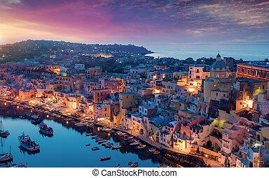 νησί , italy., ώρα , procida, ηλιοβασίλεμα , corricella, μαρίνα
