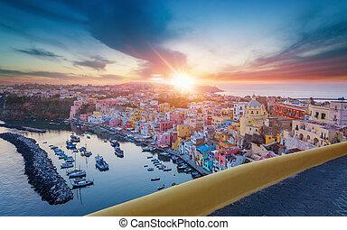 νησί , italy., procida, ηλιοβασίλεμα , corricella, μαρίνα , βλέπω