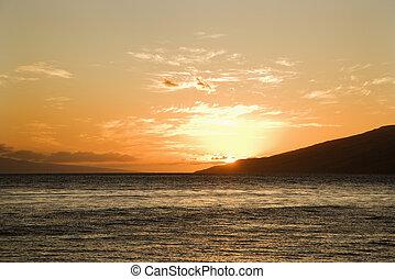 νησί , sunset.