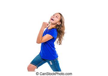νικητήs , τρέξιμο , κορίτσι , έκφραση , ερεθισμένος , χειρονομία , παιδί