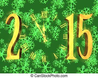 νιφάδα , ρολόι , - , χαιρετισμός , έτος , 2015, καινούργιος , ευτυχισμένος