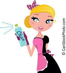 νοικοκυρά , γαλλικά δεσποινίς , ψεκάζω , καθάρισμα , ? , retro