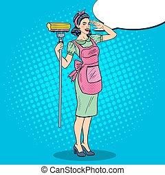 νοικοκυρά , καθάρισμα , νέος , σπίτι , κρότος , βέβαιος , γυναίκα , απορροφώ , τέχνη