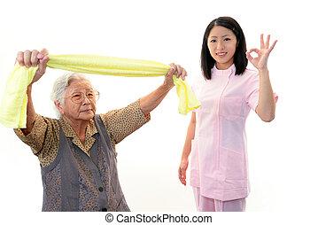 νοσοκόμα , με , ηλικιωμένος γυναίκα