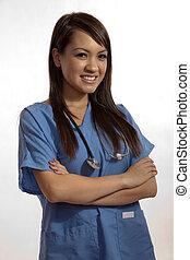νοσοκόμα , laptop , εργαζόμενος , φιλιππίνος , γιατρός