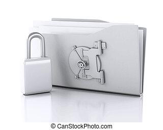 ντοσσιέ , και , lock., δεδομένα αξίες , concept., 3d , εικόνα