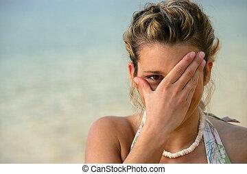 ντροπαλός , γυναίκα , παραλία