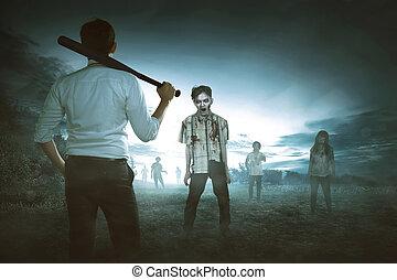 νυχτερίδα , αμπάρι πίσω , εναντίον , μπέηζμπολ , ασιάτης , zombies, άντραs , βλέπω
