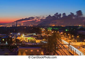 νύκτα , πόλη , τοπίο , περιοχή , δρόμοs , βιομηχανικός