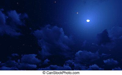 νύκτα , render, αστέρας του κινηματογράφου , 3d , sky.