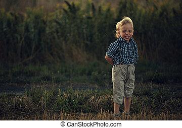ξανθή , μικρός , επαρχία , αγόρι , πορτραίτο