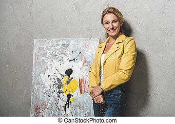 ξανθομάλλα , γυναίκα , ζωγραφική