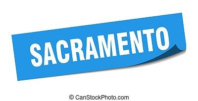 ξεφλουδίζων , sacramento , σήμα , μπλε , sticker., τετράγωνο...