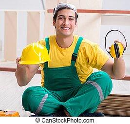 ξυλουργόs , hardhat , κουραστικός , συνεργείο , κίτρινο , ανάδοχος έργου
