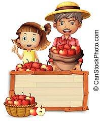 ξύλινος , γεωργόs , μήλο , baord
