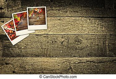 ξύλινος , εικόνες , polaroid , αγροτικός , τραπέζι , autumn/fall
