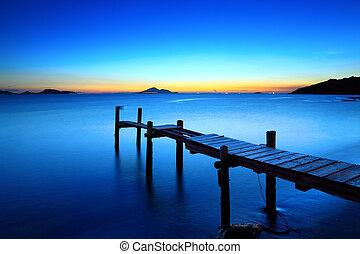 ξύλινος , θαλασσογραφία , ηλιοβασίλεμα , προβλήτα