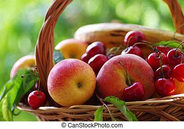 ξύλινος , καλαθοσφαίριση , γεμάτος , φρούτο , φρέσκος