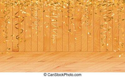ξύλινος , κομφετί , αλίσκομαι , δωμάτιο , χρυσός