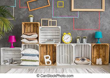 ξύλινος , κουτιά , γινώμενος , ντουλάπι