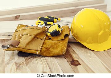 ξύλινος , κράνος , δουλειά , εργαλεία , τραπέζι