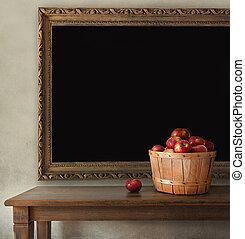 ξύλινος , μαυροπίνακας , άβγαλτος μήλο , τραπέζι